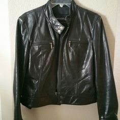 Gorgeous leather jacket Genuine leather jacket that makes a beautiful staple for your wardrobe.  Doesn't have the size tag,  but it fits like a size 12/large. Smoke free home. Whet Blu Jackets & Coats