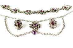 Trachtenschmuck Schmuck Set silber Ohrclips Armband Halskette
