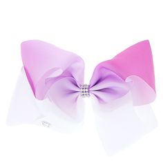 Get the ultimate dancing hair accessory with this super fun largepurple & white ombrecoloredsignature hair bow fromJoJo Siwa collection. The bow has been attached to a metal salon clip making it really easy to wear and has been covered in rhinestones so you will sparkle from head to toe. <UL><LI>JoJo Siwa collection <LI>Large white & purple ombre design <LI>Metal salon clip</LI></UL><P>The JoJo Siwa signature bow collec...