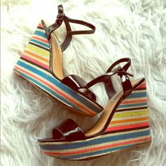 Steve Madden rainbow wedges These are super cute and fun wedges! They do have some wear as you can see (including the remnants of a piece of gum I was never able to get off, ew!) priced accordingly.                        trades or PP friendly home  serious buyers only! Bundles of 5 or more items are 50% off! This discount will have to be applied manually since posh only allows up to 30%. If you're interested in this deal, let me know and I'll make you a personalized listing!  Steve Madden…