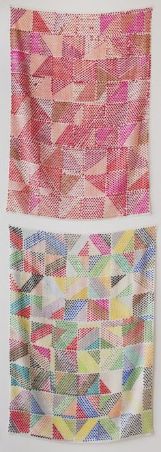 lovely colorful geometric woven rugs or tapestries