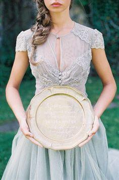 Vintage gray wedding dress: http://www.stylemepretty.com/2014/01/31/romantic-grey-gold-wedding-inspiration/ | Photography: D'arcey Benicosa - http://www.benincosaweddings.com/