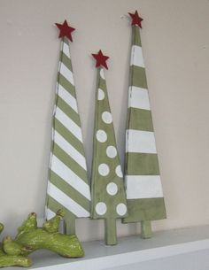 "Wooden christmas trees... No tutorial. But the shape and painting are both basic. Yet the results are super cute! Inspiration for ""someday"" .... http://517creations.blogspot.com/2012/07/christmas-in-july.html"