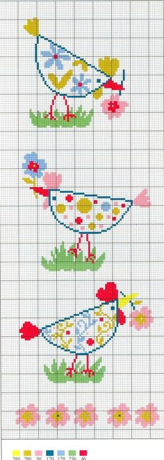 Cross-stitch Chicken ... no color chart available, just use the pattern chart as your color guide.. or choose your own colors...: