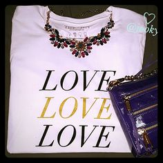 """T&J DESIGNS love tee crisp white 100% cotton short sleeve tee with black and gold font saying """"love"""" 4 times. Soft, super comfy tee with some stretch to it. see brand measurement chart pic. back of shirt has no font. more of a fitted style than relaxed. runs small, see size chart. no trades.    limited stock - M (1), L (2), XL (1)  PLEASE DO NOT BUY THIS LISTING, TELL ME WHAT SIZE FIRST. THANKS. T&J Designs Tops Tees - Short Sleeve"""
