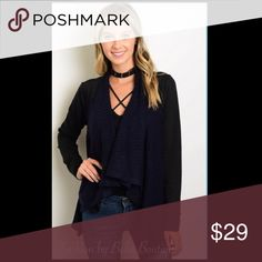 💙🖤COMING SOON 🖤💙 Black & Navy Cardigan sweater This cardigan features long sleeves, an open waterfall front and relaxed sleeves. It is Black & Navy. Great for Fall to wear to work or with jeans!  73% Polyester 27% Cotton. Comment if you'd like me to tag you when this is available. Sweaters Cardigans