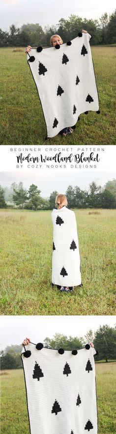 Modern Woodland Blanket by Cozy Nooks Designs, Beginner Crochet Pattern, Crochet Blanket, Tutorial – Knitting Baby İdeas. Crochet Blanket Tutorial, Modern Crochet Blanket, Easy Knit Baby Blanket, Knitted Baby Blankets, Crochet Blanket Patterns, Basic Crochet Stitches, Crochet Basics, Beginner Crochet, Crochet Quilt