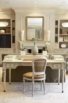 Office for two Chic Home Desk Space behind living room sofa. Home office. Home Desk, Home Office Space, Home Office Design, Home Office Decor, Desk Space, Office Spaces, Office Desk, Bedroom Office, Desk In Living Room