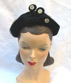 Clearance 1950's Vintage Black Velour Hat with by MyVintageHatShop, $30.00