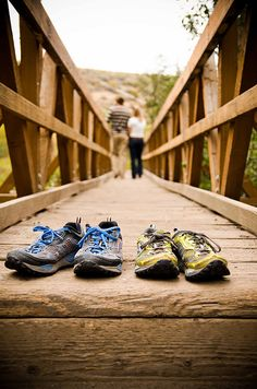 Bend Oregon, Shevlin Park, Running shoes, Engagement Photos, Amanda Mae Images