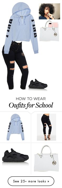 """""""School culture fair for freshys"""" by nia-slay on Polyvore featuring NIKE and Michael Kors"""