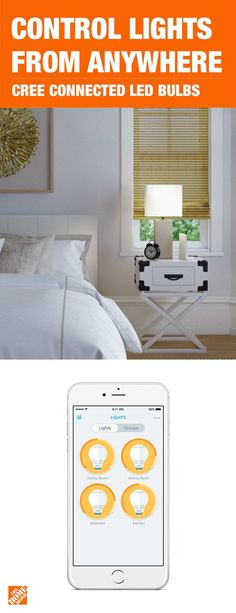 Control your lights from anywhere on busy mornings, late nights and time away from home. The Cree Connected LED Bulb is a cost-effective way to completely control your home's lighting. The bulb is simple to install and compatible with multiple home automa Home Automation System, Smart Home Automation, Luxury Homes Interior, Home Interior Design, Home Renovation, Home Remodeling, Gadgets, H & M Home, Home Security Systems