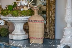 Antique French Lourdes Bottle Wicker Wrapped by edithandevelyn