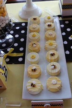 """Sweet Simplicity Bakery: Bumblebee Baby Shower """"Mommy To Bee"""" Themed Dessert, Candy & Chocolate Display Buffet Table; White Chocolate Covered Oreos with sugar Bee and Flower Toppers"""