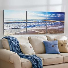 Improvements Sandy Beach Triptych Canvas Prints-Set of 3 ($80) ❤ liked on Polyvore featuring home, home decor, wall art, beach decor, canvas prints, triptych canvas, wall covering, wall decor, wall hanging and window wall art