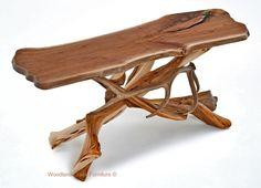 Log Sofa Table with Live Edge Walnut & Real Elk