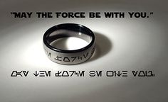 """May the Force be With You"" Aurebesh Jedi Tungsten Carbide Men's Ring - Star Wars jewelry Star Wars Film, Objet Star Wars, Star Wars Facts, Star Wars Merchandise, Star Wars Tattoo, Tungsten Carbide Rings, Tatoos, Light Saber, Rings For Men"