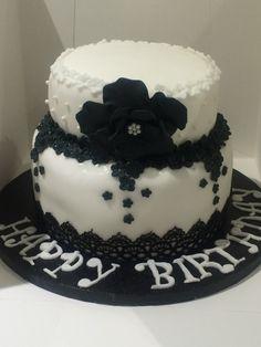 Black and white flower cake