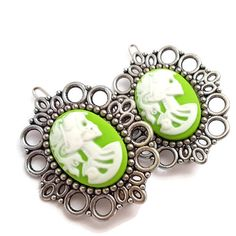 Skull Lady Hair Clips-Lime Green Skeletina Cameo-Gothic Lolita Chartreuse-Halloween-Bubble Goth-Pastel Goth-Spooky Chic-Fashion Accessory