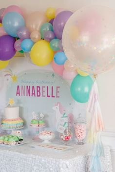 Throw your kiddo the birthday party dreams are made of with this Magical Unicorn Party theme! Rainbow Birthday, Unicorn Birthday Parties, First Birthday Parties, Birthday Party Themes, Girl Birthday, First Birthdays, Birthday Ideas, Lila Party, Festa Party