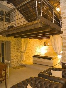 Cool loft Idea... could be done in an earth bag house with beams.