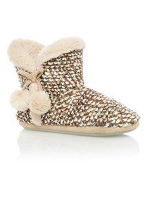 Brown Honeycomb Loop Knit Boot