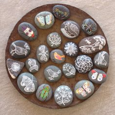 painted pebbles.