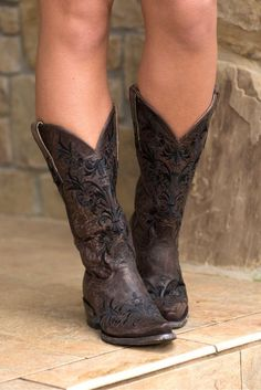 Cavender's by Old Gringo Women's Vintage Chocolate Goat with Black Vine Embroidery Snip Toe Western Boots | Cowgirl Boots | | boots | #CowgirlBoots #Boots  http://www.islandcowgirl.com