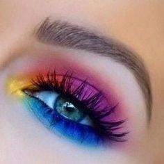 75 Most Sexy Eye-Catching Colorful Eye Makeup Ideas ❀ for Prom - Page 4 ♥ . make up bunt 75 Most Sexy Eye-Catching Colorful Eye Makeup Ideas ❀ for Prom – Page 4 ♥ … - Schönheit Makeup Eye Looks, Eye Makeup Art, Cute Makeup, Eyeshadow Makeup, Makeup Brushes, Crazy Makeup, Sexy Makeup, Mac Makeup, Eyeshadow Palette
