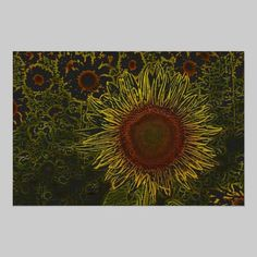 Sunflower Field 36 x 24 Poster available at www.zazzle.com/stevebrownleeart