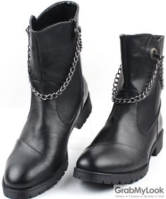 GrabMyLook Black Leather Punk Rock Metal Chain Ankle High Thick Sole Military Style Men Boots Shoes
