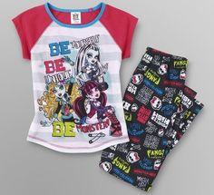 MONSTER High Pjs 10/12 NeW Pajamas Shirt Pants Draculaura Frankie & Lagoona Blue #Mattel #PajamaSet