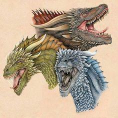 Drogon, Rhaegal and Viserion