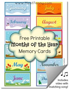 Free Months of the Year Printable Memory Cards + Matching Song!