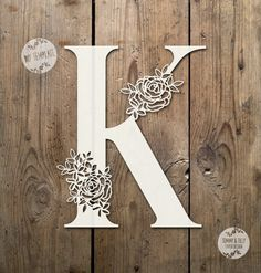 Floral Letter 'K' SVG PDF Design Papercutting Vinyl