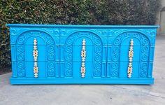 Peacock Blue and Gold Ornate Hollywood Regency Sideboard. Mod Furniture, Refurbished Furniture, Colorful Furniture, Painted Furniture, Blue Dresser, Peacock Blue, Hollywood Regency, Media Cabinets, General Finishes
