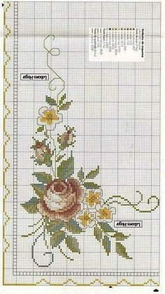 This Pin was discovered by Özl Cross Stitch Needles, Cross Stitch Rose, Cross Stitch Borders, Cross Stitch Flowers, Cross Stitch Charts, Cross Stitch Designs, Cross Stitching, Cross Stitch Embroidery, Cross Stitch Patterns