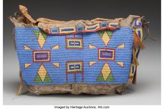 American Indian Art:Beadwork and Quillwork, A SIOUX BEADED BUFFALO HIDE TIPI BAG. c. 1880...