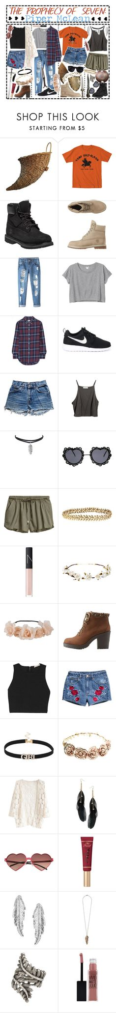 """""""- ̗̀The Prophecy of Seven: Piper McLean  ̖́-"""" by i-get-a-little-bit-breathless ❤ liked on Polyvore featuring Timberland, Chicnova Fashion, Monki, Band of Outsiders, NIKE, Levi's, Karen Walker, Ellen Hunter, NARS Cosmetics and Cult Gaia"""