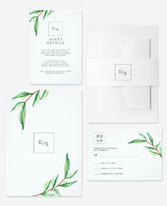 This modern invitation suite was designed with a clean, minimalist look that is right on trend. Green watercolor leaves decorate a clean, white background.