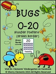 """Number Posters 0-20 - Bugs (Green Border)These 21 number posters (8 1/2"""" X 11"""") include numbers 0-20. Each poster includes a number, number word, and matching ten frame with pictures of bugs in the ten frames. The posters have a green border.Other sets of these Bugs Posters 0-20 are available in rainbow, red, and blue borders. - $"""