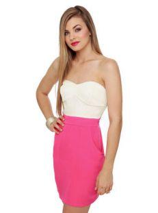 Neons: Strapless Pink Dress, $38