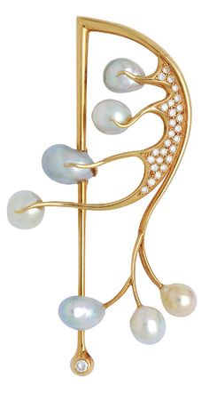 Cultured Pearl, Diamond and 18K Gold Brooch, Giliberto Designed as a stylised snowdrop sprig, with cultured pearl blossoms of various shapes in shades of grey, white and golden, and accented with round diamonds, mounted in 18k gold, signed Giliberto