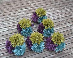 Set of 6 Keepsake Bouquets, Silk Wedding Flowers, Peacock Wedding, Vintage Wedding, Rustic Wedding, Bridesmaid Bouquet, Bridal Bouquet, Set