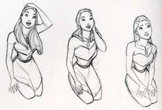 Disney Princesses - Preproduction Sketches (Aurora, Anastasia, Chel, and Pocahontas)