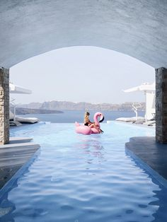 Flamingo pool party, Santorini