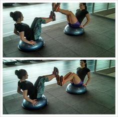 V-Sit bosu w/ Leg Circles: Sit facing a partner, lean back slightly (hands on the sides for balance) while maintaining a neutral spine. Lift the legs off the floor until the lower legs are almost parallel to the floor.  One partner holds a stationary v-sit position while the other circles his/her legs around the other's feet. After a few circles in each direction, switch roles. Perform this drill for 60-90 seconds.