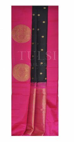 Elegant black saree with a pink border and large butta motifs ~just classy Kanjivaram Sarees, Silk Sarees, Indian Designers, Bridal Silk Saree, Black Saree, Saree Shopping, Saree Styles, Saree Collection, Draping