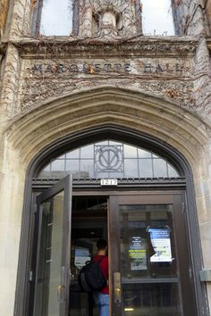 Entering Marquette Hall at Marquette University.
