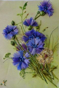 'Blue Cornflowers' - ribbonwork, embroidery, and paint by Angela Yuklyanchuk